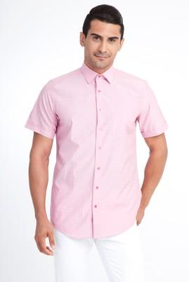 Erkek Giyim - Kırmızı 4X Beden Kısa Kol Desenli Klasik Gömlek
