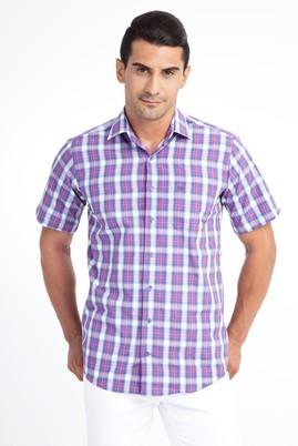 Erkek Giyim - Pembe M Beden Kısa Kol Ekose Klasik Gömlek