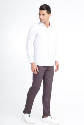 Erkek Giyim - Bordo 54 Beden Slim Fit Kuşgözü Klasik Pantolon