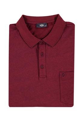 Erkek Giyim - Bordo 4X Beden King Size Polo Yaka Çizgili Tişört