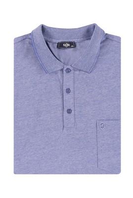 Erkek Giyim - Mavi 5X Beden King Size Polo Yaka Çizgili Tişört