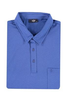 Erkek Giyim - KOYU MAVİ 4X Beden King Size Polo Yaka Çizgili Tişört