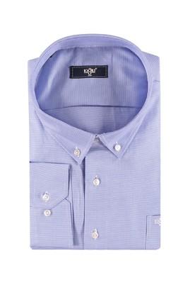 Erkek Giyim - Mavi 5X Beden King Size Uzun Kol Desenli Gömlek