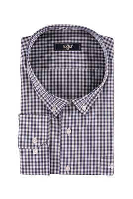 Erkek Giyim - Lacivert 7X Beden King Size Uzun Kol Ekose Gömlek