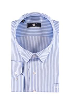 Erkek Giyim - Mavi 6X Beden King Size Uzun Kol Çizgili Gömlek