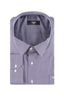 Erkek Giyim - Lacivert 6X Beden King Size Uzun Kol Çizgili Gömlek