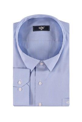 Erkek Giyim - Açık Mavi 5X Beden King Size Uzun Kol Çizgili Gömlek
