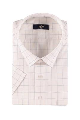 Erkek Giyim - Beyaz 7X Beden King Size Kısa Kol Ekose Spor Gömlek