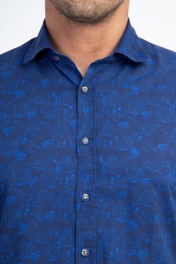 Erkek Giyim - Uzun Kol Keten Slim Fit Gömlek