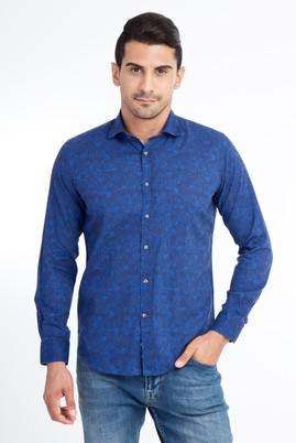 Erkek Giyim - Lacivert S Beden Uzun Kol Keten Slim Fit Gömlek
