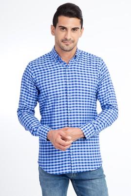 Erkek Giyim - Mavi 4X Beden Uzun Kol Ekose Gömlek
