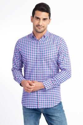 Erkek Giyim - Pembe 4X Beden Uzun Kol Ekose Gömlek