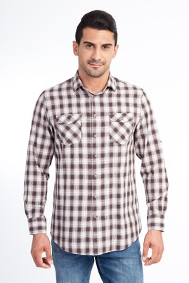 Erkek Giyim - Kahve XL Beden Uzun Kol Ekose Gömlek