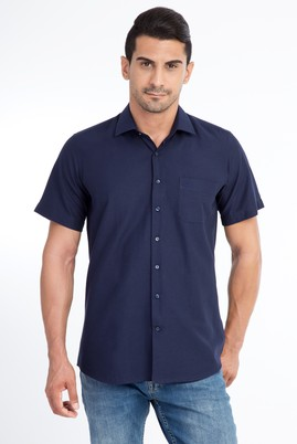 Erkek Giyim - Lacivert XL Beden Kısa Kol Desenli Klasik Gömlek