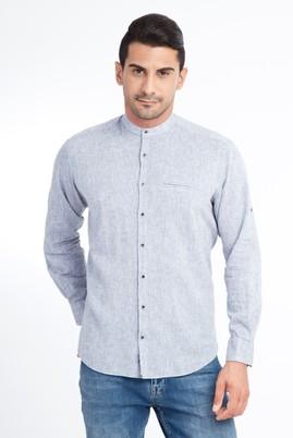 Erkek Giyim - Orta füme 3X Beden Uzun Kol Hakim Yaka Keten Gömlek
