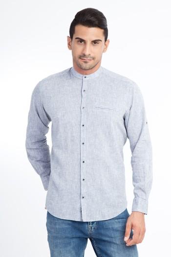 Erkek Giyim - Uzun Kol Regular Fit Hakim Yaka Gömlek