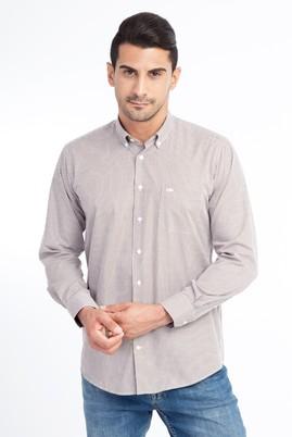 Erkek Giyim - Kahve S Beden Uzun Kol Ekose Gömlek