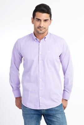 Erkek Giyim - Lila XXL Beden Uzun Kol Ekose Gömlek