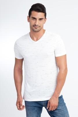 Erkek Giyim - Beyaz S Beden V Yaka Regular Fit Desenli Tişört