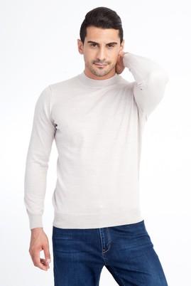 Erkek Giyim - Bej S Beden Bato Yaka Triko Kazak