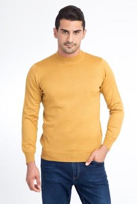 Erkek Giyim - Açık Kahve - Camel M Beden Bato Yaka Triko Kazak
