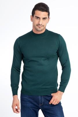 Erkek Giyim - KOYU YESİL 3X Beden Bato Yaka Triko Kazak