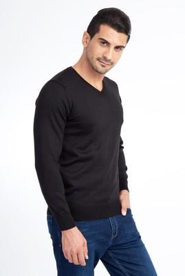 Erkek Giyim - Siyah L Beden V Yaka Yünlü Triko Kazak