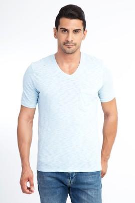 Erkek Giyim - Açık Mavi L Beden V Yaka Regular Fit Tişört