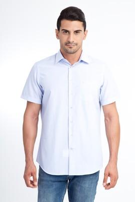Erkek Giyim - Açık Mavi 4X Beden Kısa Kol Ekose Klasik Gömlek