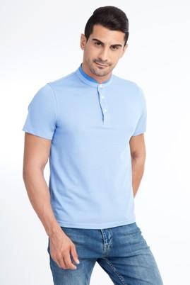 Erkek Giyim - Mavi 3X Beden Bisiklet Yaka Regular Fit Tişört