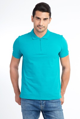 Erkek Giyim - Acık Yesıl 3X Beden Regular Fit Polo Yaka Tişört