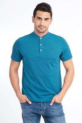 Erkek Giyim - KOYU YESİL M Beden Bisiklet Yaka Regular Fit Tişört