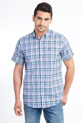 Erkek Giyim - Lacivert XL Beden Kısa Kol Ekose Gömlek