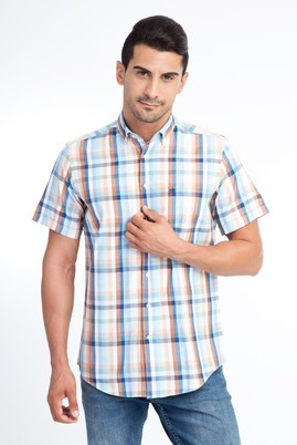 Erkek Giyim - Acık Yesıl S Beden Kısa Kol Ekose Klasik Gömlek