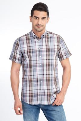 Erkek Giyim - Kahve M Beden Kısa Kol Ekose Klasik Gömlek