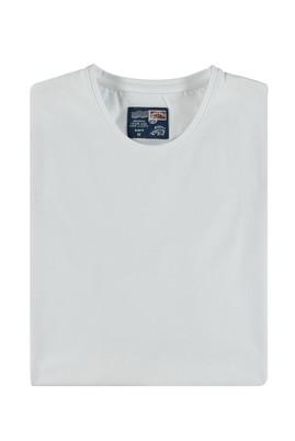 Erkek Giyim - Beyaz M Beden Bisiklet Yaka Slim Fit Sweatshirt