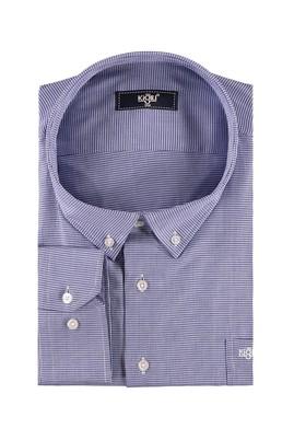 Erkek Giyim - Lacivert 5X Beden King Size Uzun Kol Desenli Gömlek
