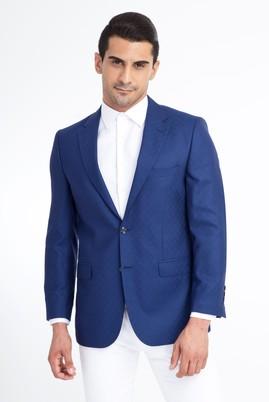 Erkek Giyim - Mavi 58 Beden Desenli Ceket