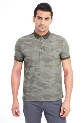 Erkek Giyim - KOYU YESİL L Beden Regular Fit Desenli Polo Yaka Tişört