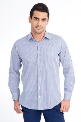 Erkek Giyim - Lacivert M Beden Uzun Kol Çizgili Klasik Gömlek