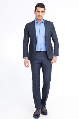 Erkek Giyim - Petrol 50 Beden Slim Fit Ekose Takım Elbise