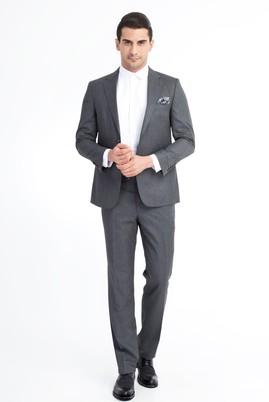 Erkek Giyim - Füme Gri 56 Beden Kuşgözü Takım Elbise