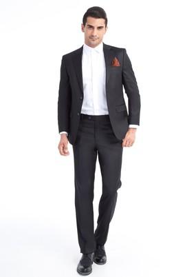 Erkek Giyim - Siyah 58 Beden Kuşgözü Takım Elbise