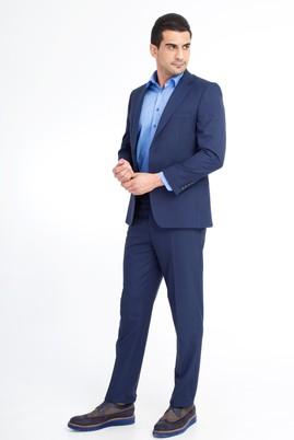 Erkek Giyim - Lacivert 54 Beden Kareli Takım Elbise