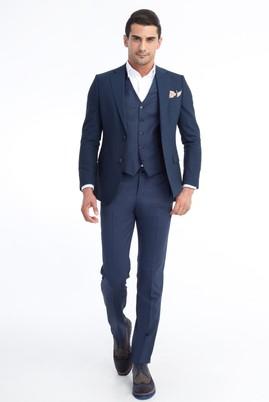 Erkek Giyim - Mavi 58 Beden Yelekli Takım Elbise