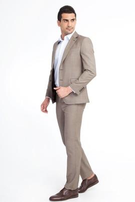Erkek Giyim - Açık Kahve - Camel 54 Beden Slim Fit Kuşgözü Takım Elbise