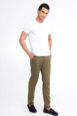 Erkek Giyim - KOYU YESİL 56 Beden Spor Saten Pantolon