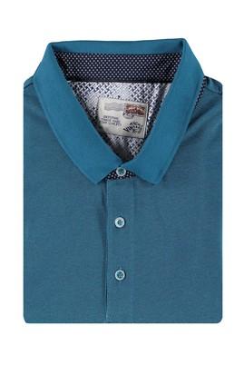 Erkek Giyim - Petrol 4X Beden King Size Polo Yaka Desenli Tişört