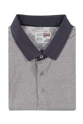 Erkek Giyim - Füme Gri 5X Beden King Size Polo Yaka Desenli Tişört