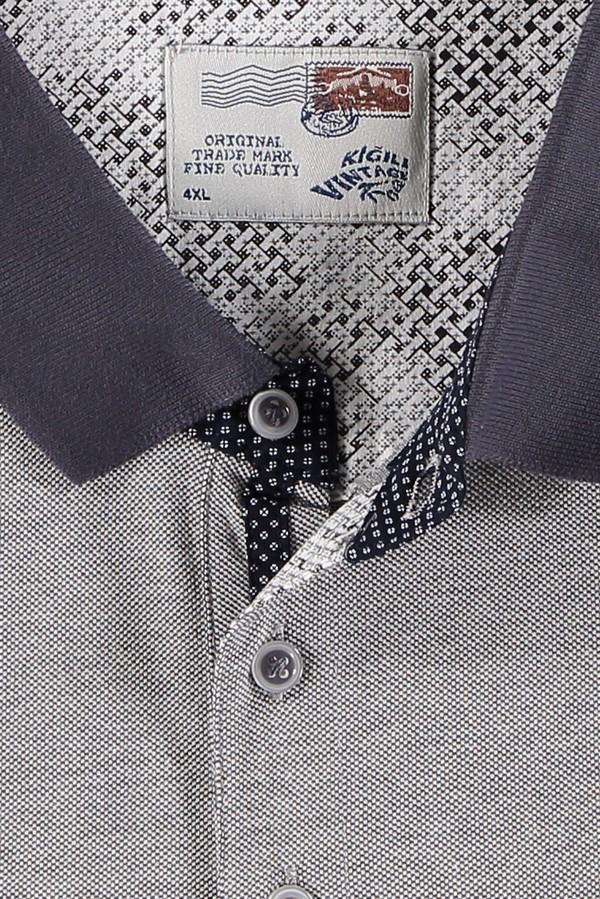 King Size Polo Yaka Desenli Tişört